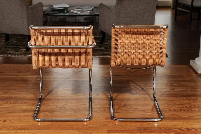 Pristine Set of Eight Italian Wicker Chairs in the Style of Mies van der Rohe In Excellent Condition For Sale In Atlanta, GA