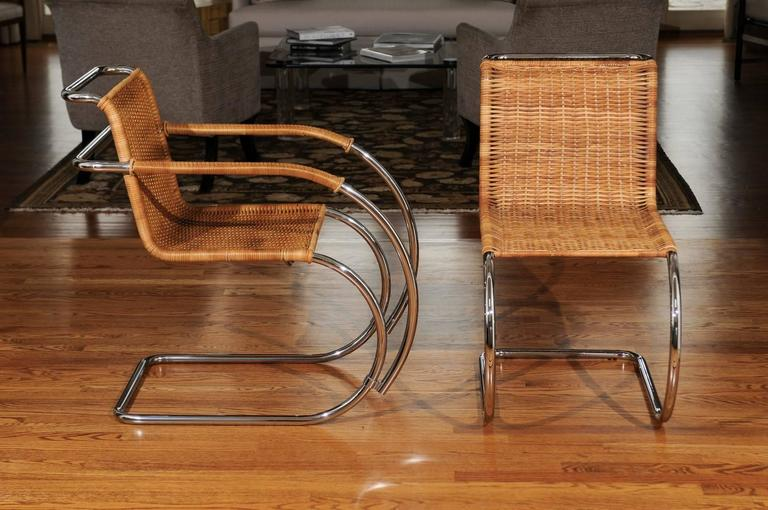 Mid-Century Modern Pristine Set of Eight Italian Wicker Chairs in the Style of Mies van der Rohe For Sale