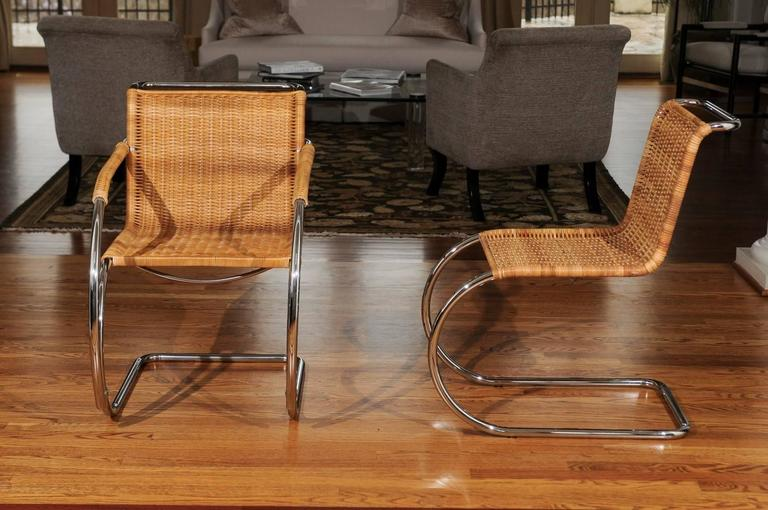 Pristine Set of Eight Italian Wicker Chairs in the Style of Mies van der Rohe For Sale 4
