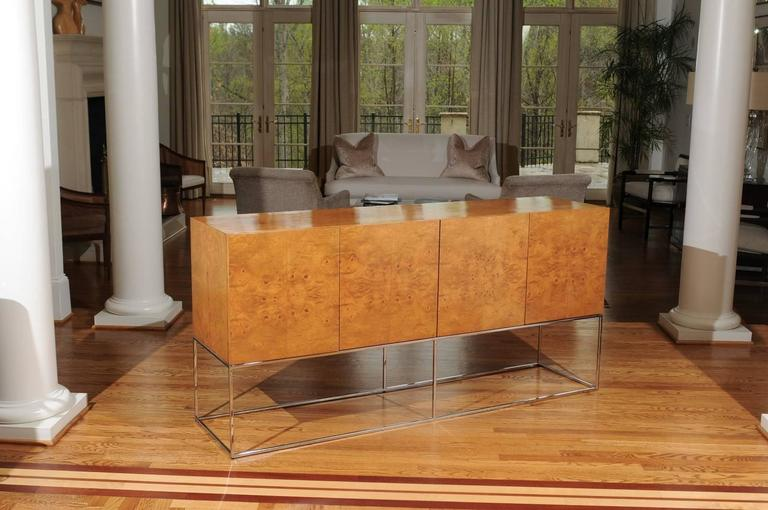 Mid-Century Modern Exemplary Bookmatched Olivewood Credenza by Milo Baughman for Thayer Coggin For Sale