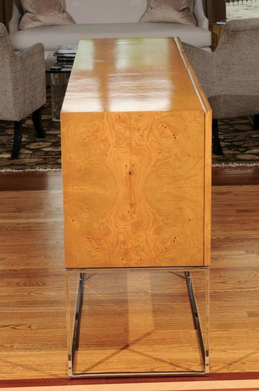 Chrome Exemplary Bookmatched Olivewood Credenza by Milo Baughman for Thayer Coggin For Sale