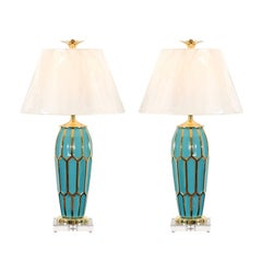 Striking Pair of Custom Ceramic Lamps in Turquoise and Gold