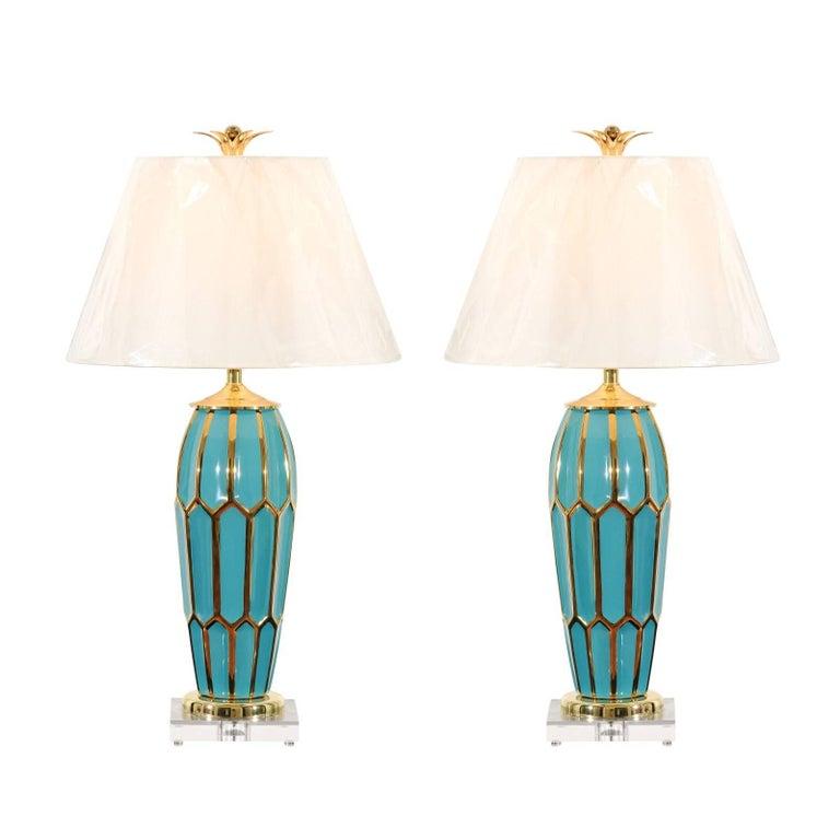 Striking Pair Of Custom Ceramic Lamps, Custom Ceramic Table Lamps