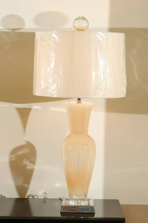 Italian Elegant Restored Pair of Blown Murano Lamps with Custom Orb Finials For Sale