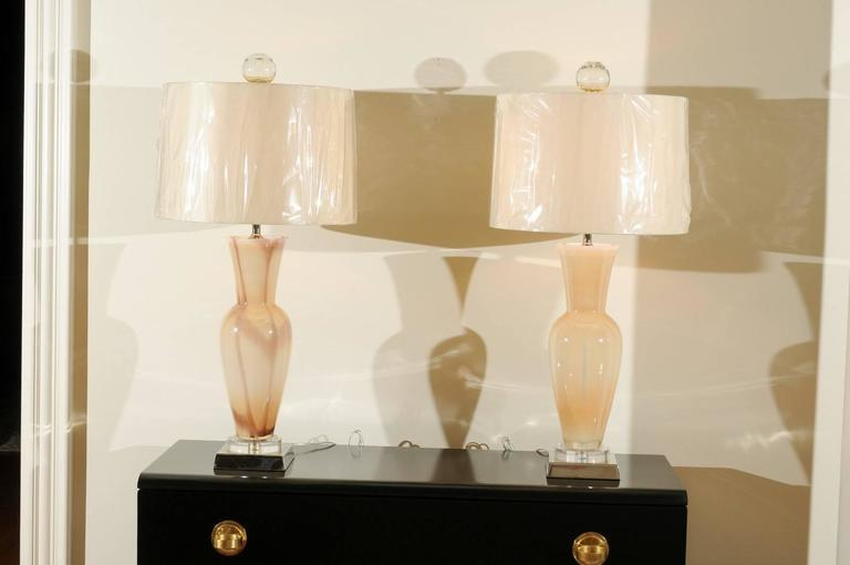 Elegant Restored Pair of Blown Murano Lamps with Custom Orb Finials For Sale 3