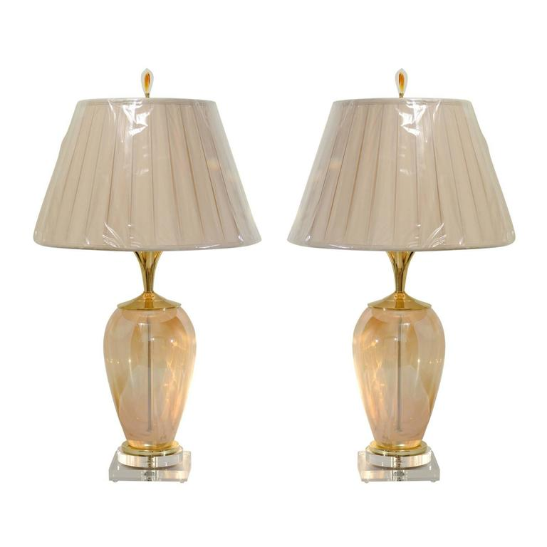 Exquisite Pair of Blown Murano Vessels as Custom-Made Lamps