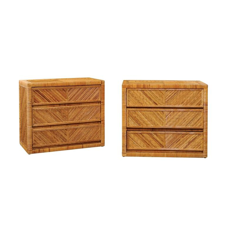 Incredible Pair of Restored Vintage Cane and Reed Bamboo Small Chests