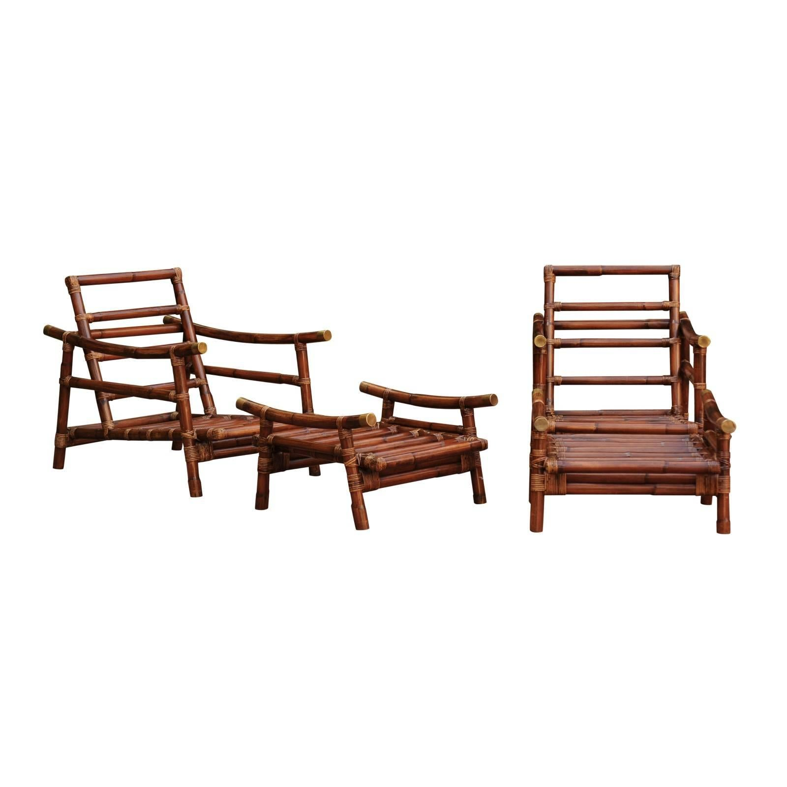 Fabulous Restored Pair of Custom-Commissioned Rattan Loungers with Ottomans