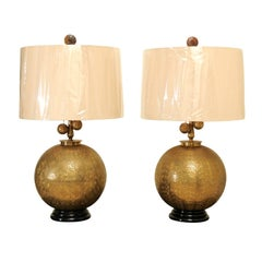 Sophisticated Restored Pair of Etched Brass Sphere Lamps, circa 1960