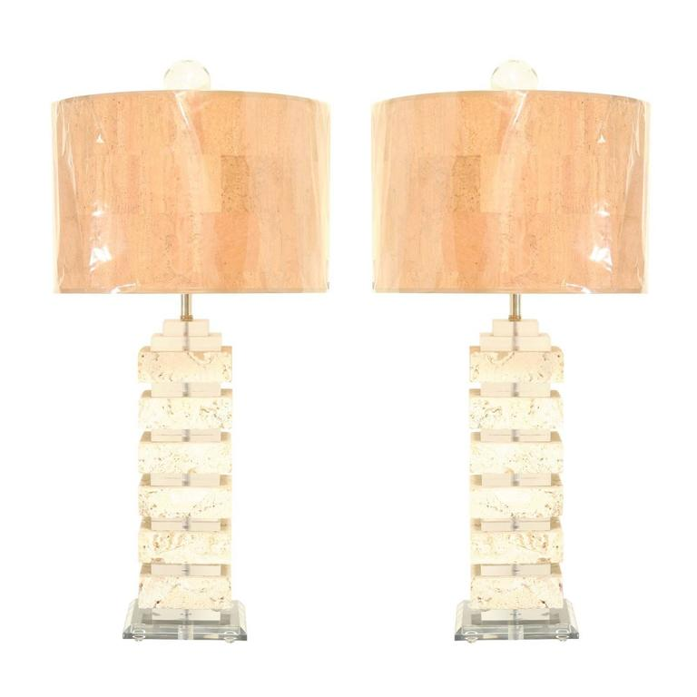 Restored Pair of Vintage Limestone and Lucite Lamps with Blown Glass Finials