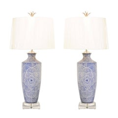 Dramatic Graphic Pair of Large-Scale Ceramic Lamps in Navy and White