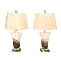 Stunning Pair of Eastern European Blown Glass Vessels as Custom Lamps