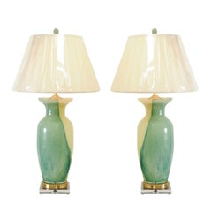 Glorious Pair of Swirl Murano Lamps with Accents of Jade, Brass and Lucite