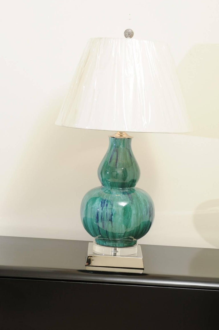Fantastic Pair Of Drip Glaze Gourd Lamps In Turquoise