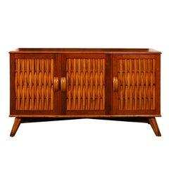 Extraordinary Restored Mahogany Cabinet with Woven Bamboo Doors, circa 1940