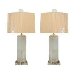 Dazzling Pair of Opaque and Clear Blown Glass Lamps with Custom Orb Finials