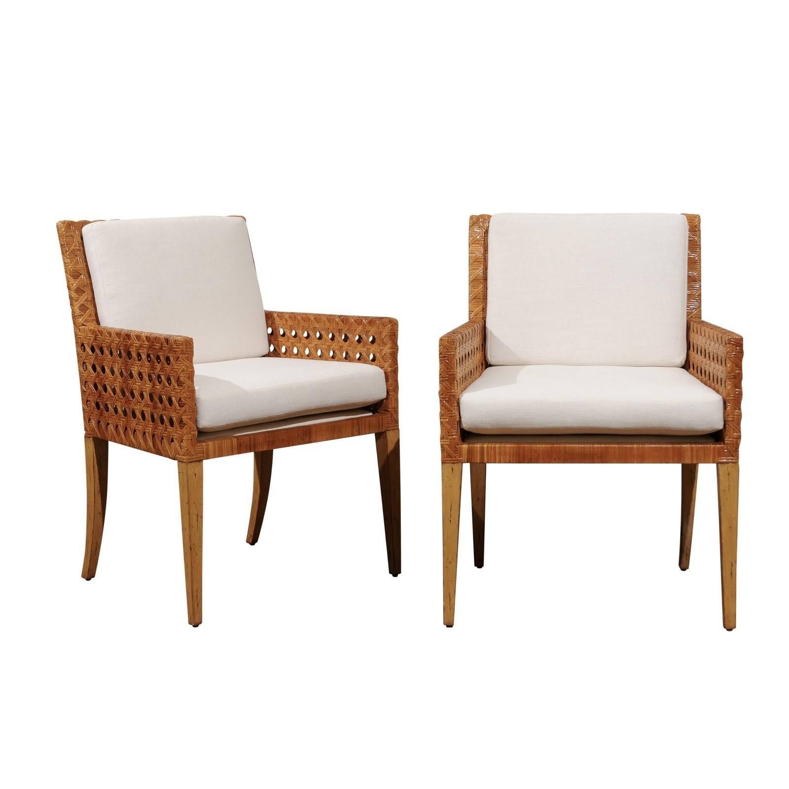 Stunning Restored Pair of Large-Scale Vintage Cane Armchairs, circa 1975