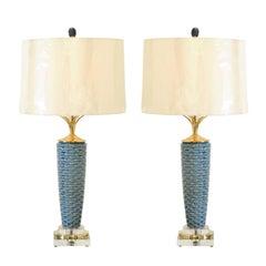 Exquisite Pair of Portuguese Ceramic Basketweave Vessels as Custom Lamps