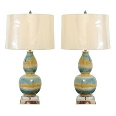 Marvelous Pair of Restored Drip-Glaze Lamps in Caramel and Sultanabad Blue