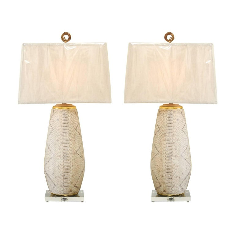 Outstanding Pair of Faux-Snakeskin Vessels and Custom Lamps
