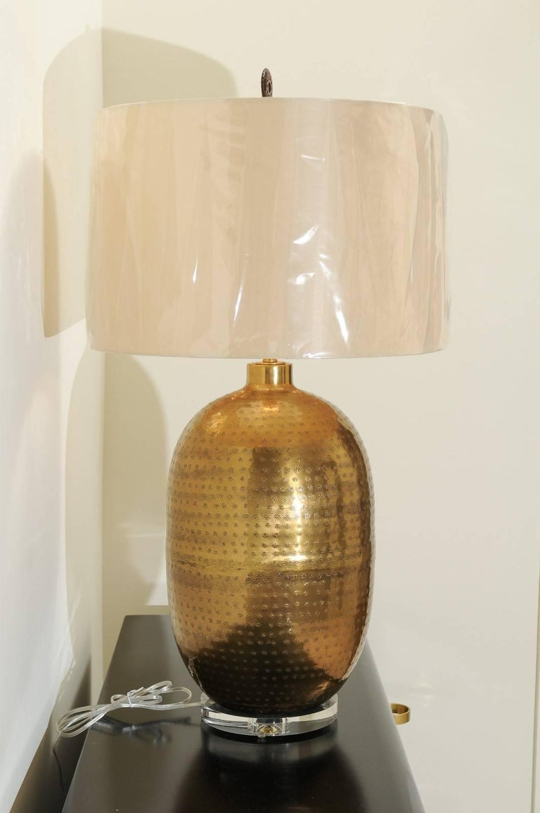 Late 20th Century Dramatic Pair of Large-Scale Textured Brass Lamps, circa 1970 For Sale