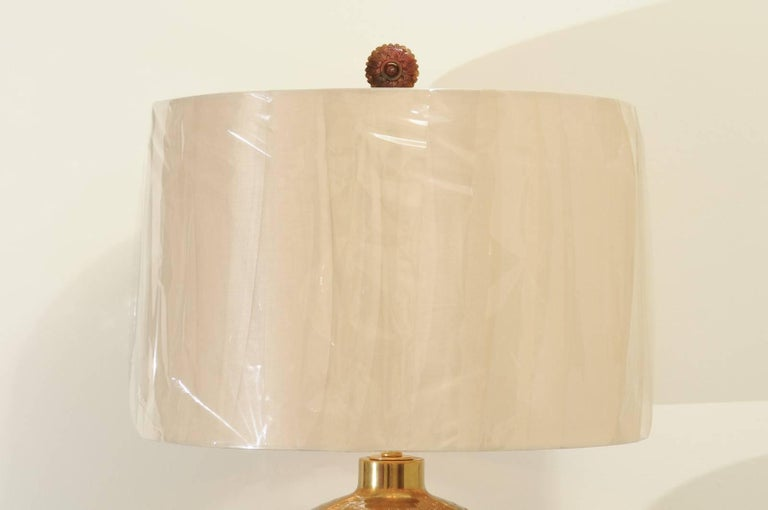 Dramatic Pair of Large-Scale Textured Brass Lamps, circa 1970 For Sale 1
