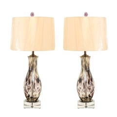 Stunning Pair of Charcoal Spotted Blown Murano Lamps