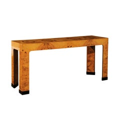 Magnificent Restored Bookmatched Burl Olivewood Console Table, circa 1975