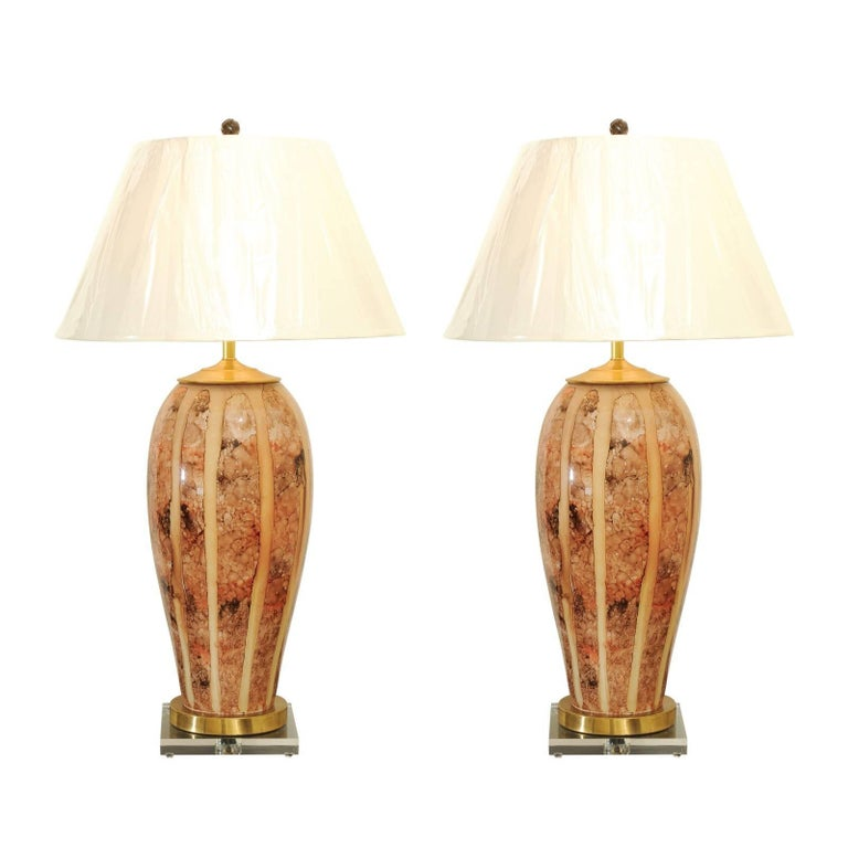 Beautiful Pair of Large-Scale Reverse Painted Murano Lamps