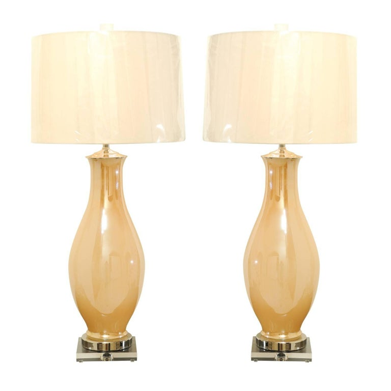 Exquisite Pair of Vintage Large-Scale Pearl Murano Lamps, circa 1960