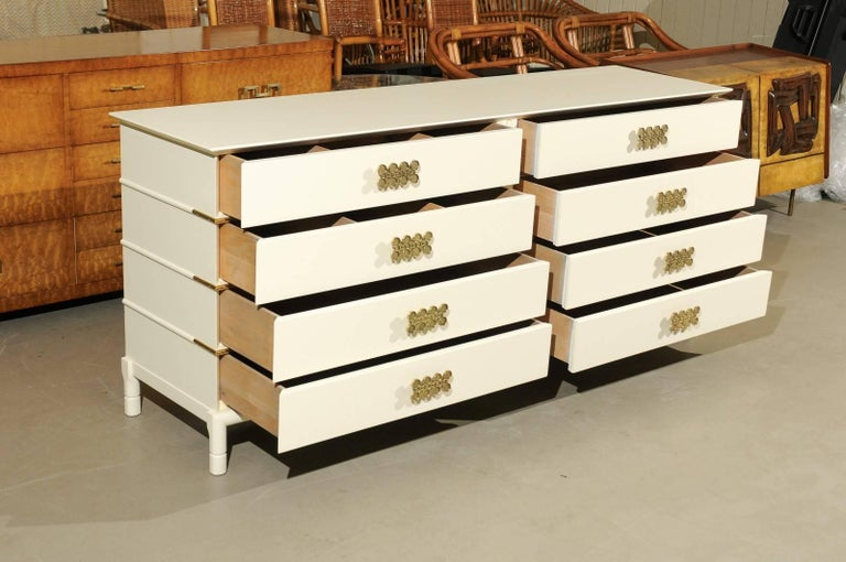 Brass Magnificent Restored Eight Drawer Chest by Renzo Rutili, circa 1965 For Sale