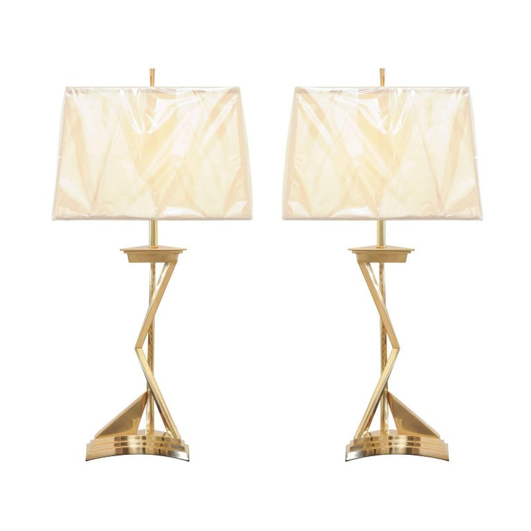 Exquisite Pair of Modern Brass Lamps in the Style of Parzinger, circa 1960