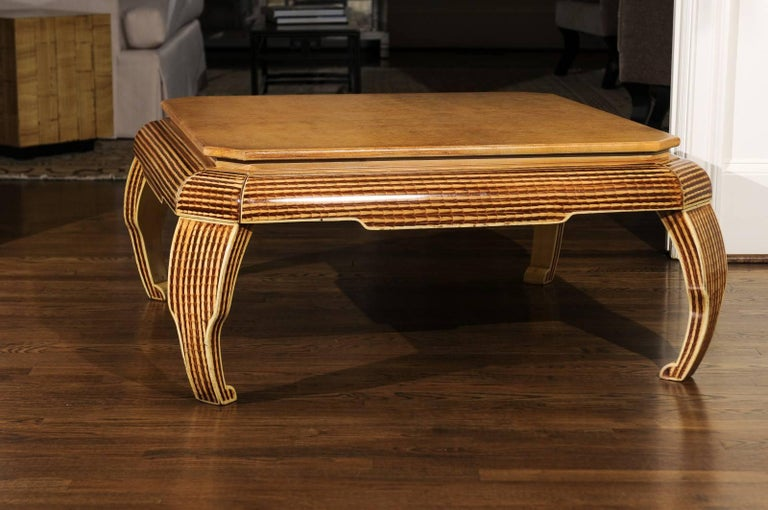 Exquisite Hand-Painted Coffee Table by Alessandro for Baker, circa 1985 In Excellent Condition For Sale In Atlanta, GA