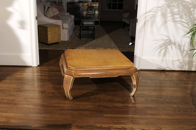Hardwood Exquisite Hand-Painted Coffee Table by Alessandro for Baker, circa 1985 For Sale