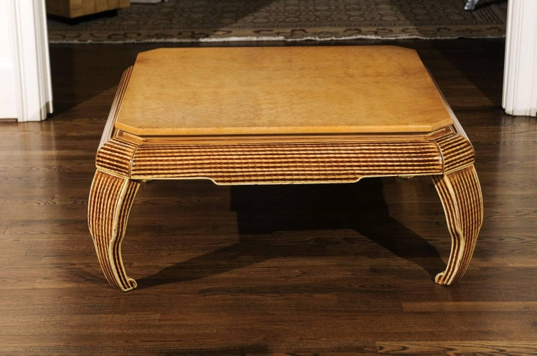 Mid-Century Modern Exquisite Hand-Painted Coffee Table by Alessandro for Baker, circa 1985 For Sale