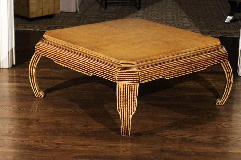 An exceptional hand-painted lacquer coffee table by the Italian designer Alessandro Gambrielli Gambalogna for Baker Furniture, circa 1985. Fabulous design, craftsmanship and quality. Pieces from this limited production series are highly coveted.