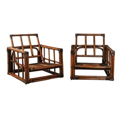 Warm and Mellow Restored Pair of Cube Loungers by Ficks Reed, circa 1970