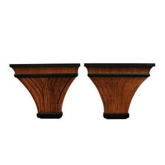 Exceptional Restored Pair of Bamboo and Burl Elm Consoles, circa 1975