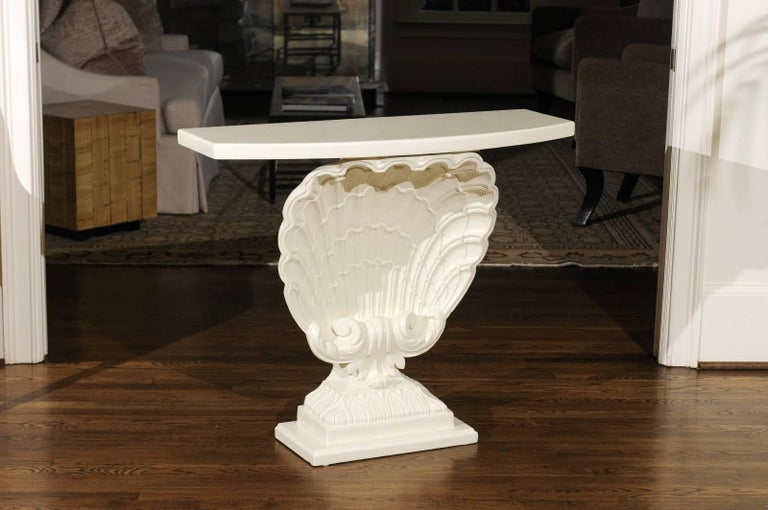 Beautiful Restored Pair of Gesso Shell Consoles by Grosfeld House, circa 1950 In Excellent Condition For Sale In Atlanta, GA