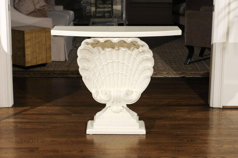 American Beautiful Restored Pair of Gesso Shell Consoles by Grosfeld House, circa 1950 For Sale
