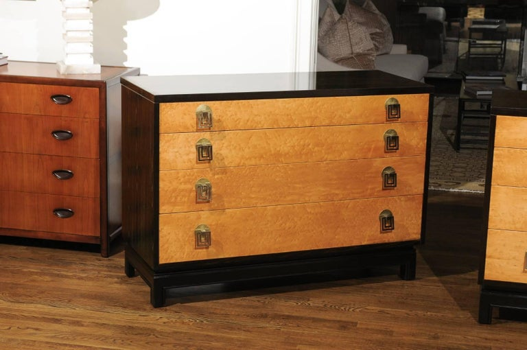 Mid-Century Modern Breathtaking Pair of Chests by Renzo Rutili in Cerused Oak and Bird's-Eye Maple For Sale