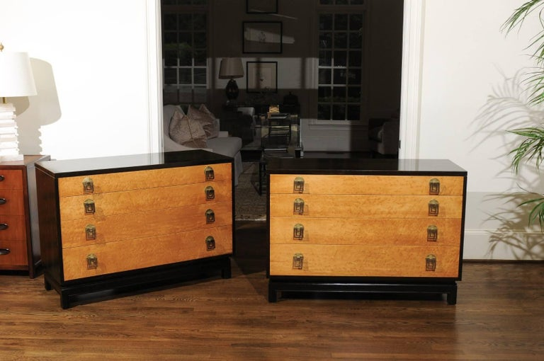 American Breathtaking Pair of Chests by Renzo Rutili in Cerused Oak and Bird's-Eye Maple For Sale