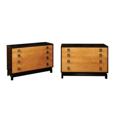 Breathtaking Pair of Chests by Renzo Rutili in Cerused Oak and Bird's-Eye Maple