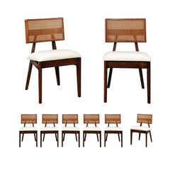 Coveted Restored Set of Eight Cane Dining Chairs by George Nelson, circa 1949
