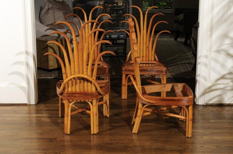 Mid-Century Modern Jaw-Dropping Unique Pair of Custom-Made Palm Frond Chairs, circa 1950 For Sale