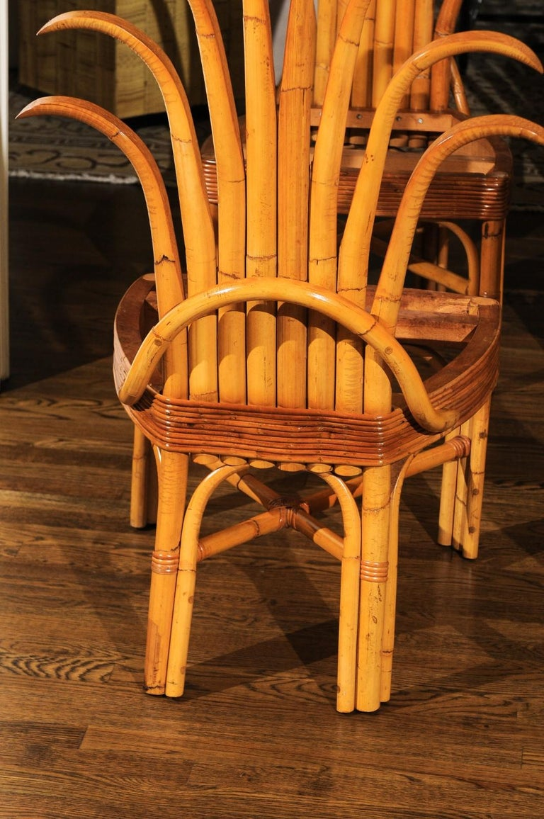 Unknown Jaw-Dropping Unique Pair of Custom-Made Palm Frond Chairs, circa 1950 For Sale