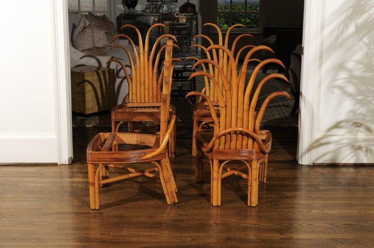 Mid-20th Century Jaw-Dropping Unique Pair of Custom-Made Palm Frond Chairs, circa 1950 For Sale
