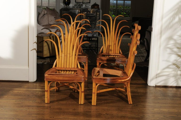 Cane Jaw-Dropping Unique Pair of Custom-Made Palm Frond Chairs, circa 1950 For Sale