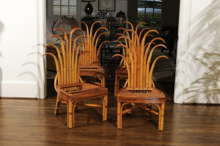 Jaw-Dropping Unique Pair of Custom-Made Palm Frond Chairs, circa 1950 For Sale 3