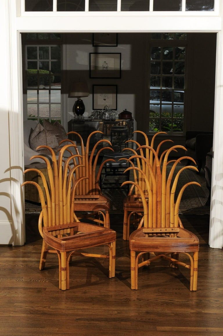 Jaw-Dropping Unique Pair of Custom-Made Palm Frond Chairs, circa 1950 For Sale 4